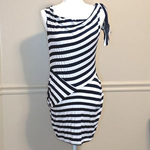 Bellatrix Navy White Striped Mini Dress Sz M